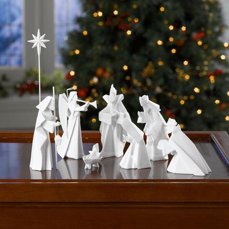 Modern 8 Piece Origami Nativity Manger In White Porcelain