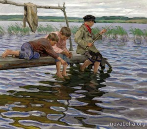 Nikolai-Bogdanov-Belsky-1866-1945_Boys-fishing-off-a-pier_-Oil-on-canvas_71