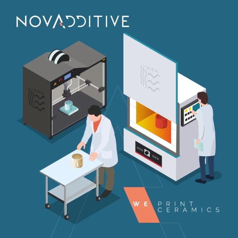 Illustration de l'imprimante 3D et du four céramique sur le site de production novadditive