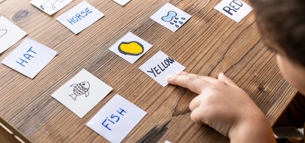 Little kid playing with cards of words and pictures