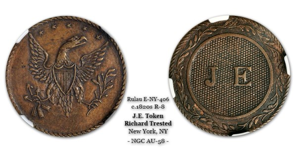 J.E. Token struck in Copper