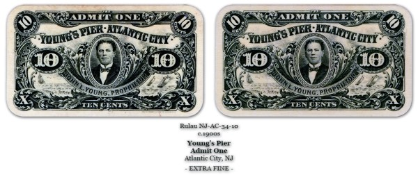 NJ-AC-34-10 Unlisted Young's Pier 10-cents Admit One