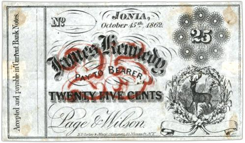 25 Cent Note - Ionia, Michigan October 15th 1862 James Kennedy Pay to Bearer Twenty Five Cents Page & Wilson