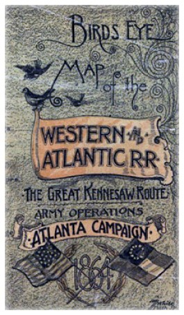 Birds Eye Map of the Western & Atlantic Rail Road The Great Kennesaw Route Army Operations Atlanta Campaign 1864