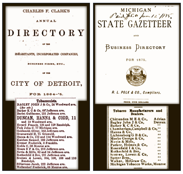 Charles F. Clarks Annual Directory - City of Detroit For 1864-1865, Michigan State Gazetteer and Business Directory for 1875