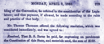 Resolved, that B.S. Baruc be paid for engraving on parchment the Constitution
