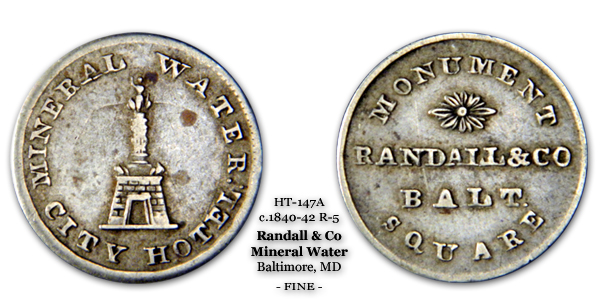 HT-147A Randall & Co Soda Mineral Water Token Baltimore