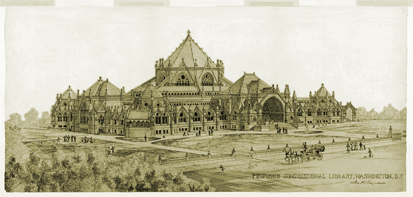 Rendering of The Library of Congress, The Jefferson Building c.1873