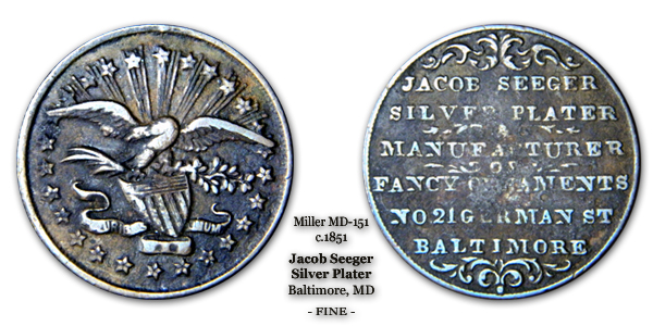 Miller MD-151 Jacob Seeger c.1851 Baltimore Silver Plater Fine Copper