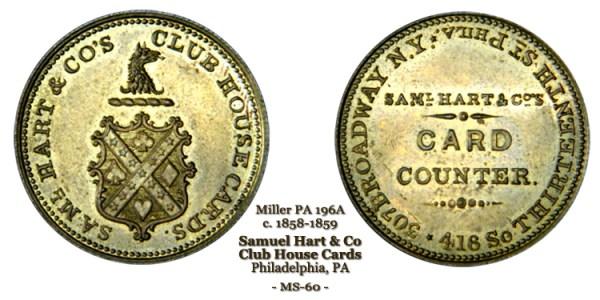 Samuel Hart & Co Club House Cards Pa-195A brass 1858-1859