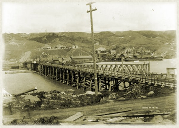 View of Portage Lake Bridge in the 1880s