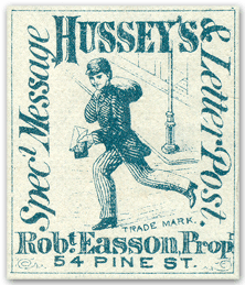 Hussey's Special Message Express, 54 Pine St, NY, R Easson, Proprietor, red stamp