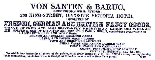 on Santen & Baruc, successors to S. Wille, French, German, and British Fancy Goods