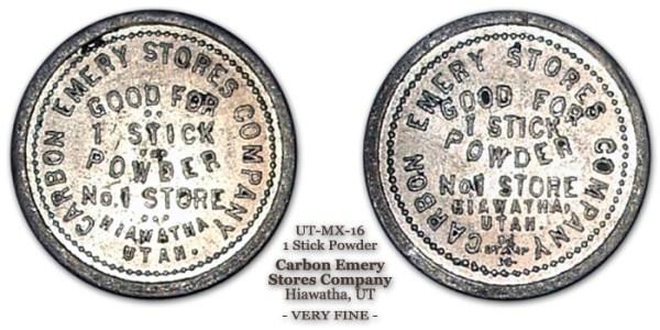 1 Stick Powder, Carbon Emery Stores Co, Hiawatha UT Schenkman-UT-MX16