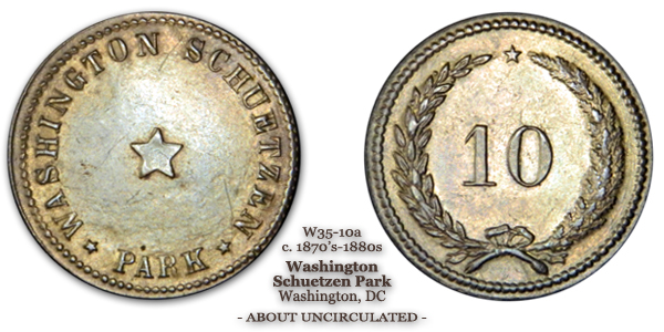 Washington's Schuetzen Park 10-cent token Schenkman W35-10a