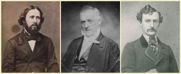 Left: John Fremont, Center: President James Buchanan, Right: John Wilkes Booth