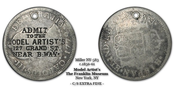 Miller NY-583 Admit To The Model Artist's 127 Grand St Near B'Way