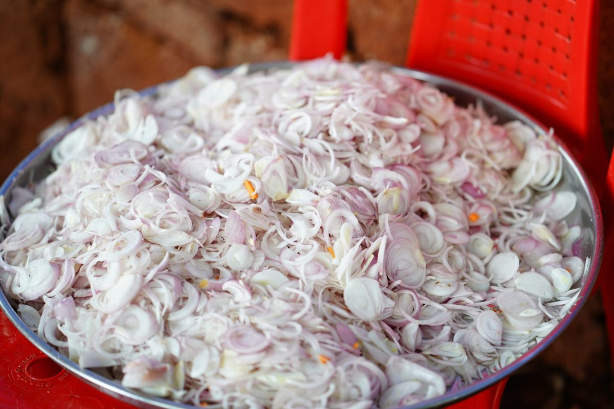 Onions chopped in bowl