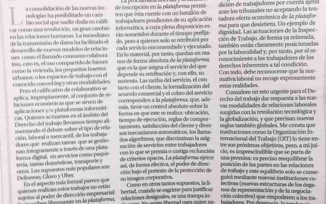 Carmen collado» ´La plataforma´, un nuevo modelo de explotación laboral»