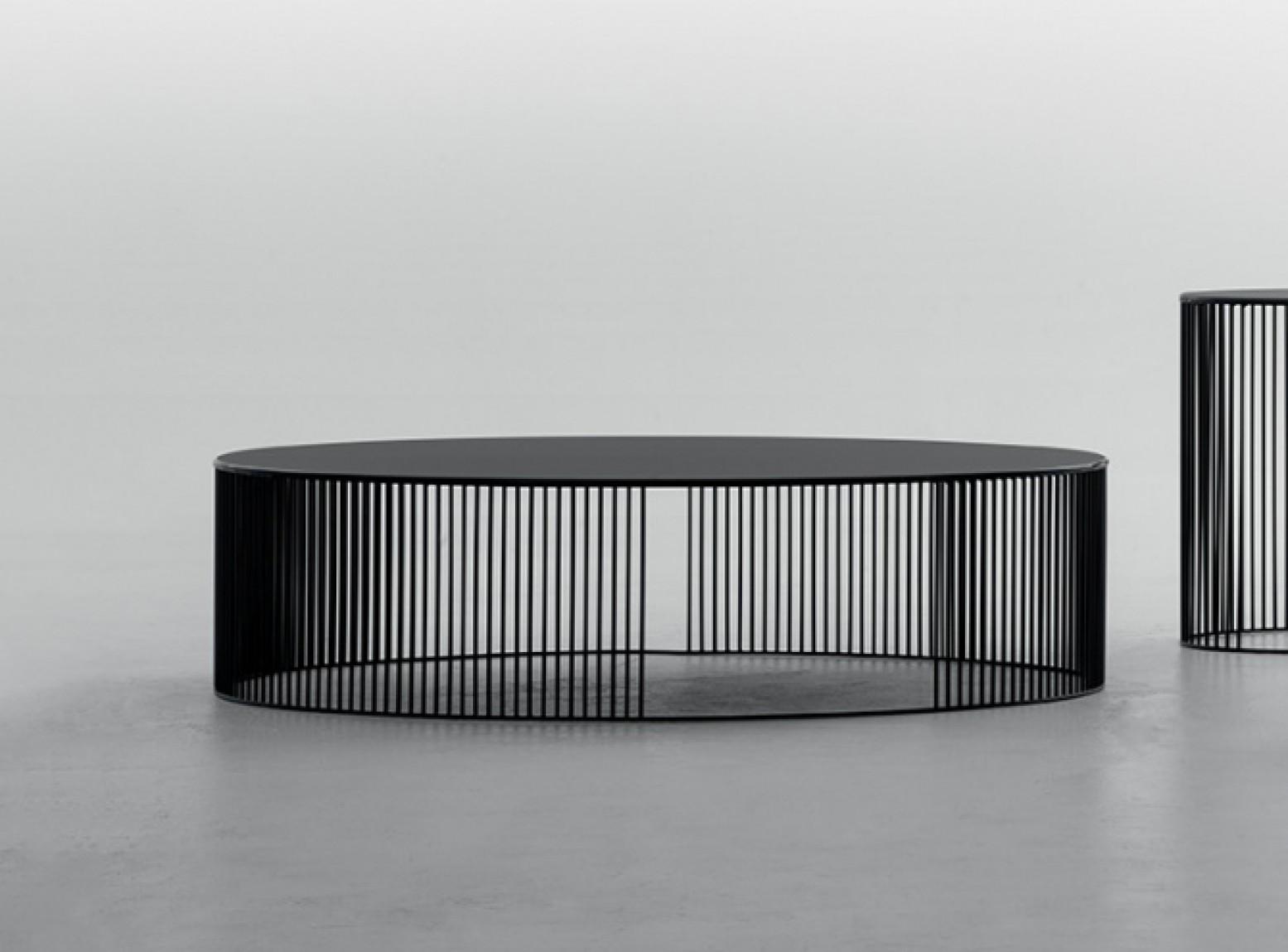 andra large coffee table matt black metal base acid etched black glass top