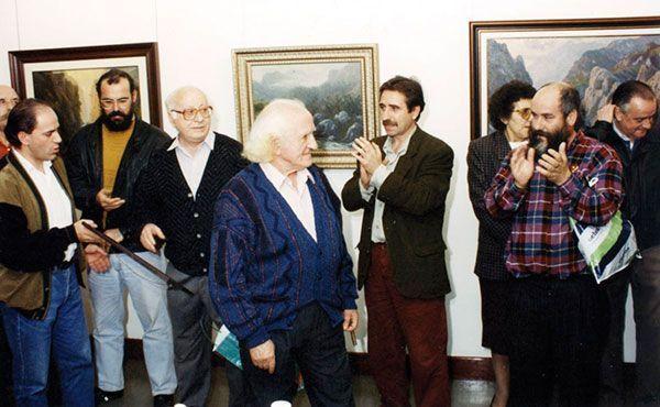 Santi Rodríguez durante el homenaje que se le rindió en Sestao en el año 2000