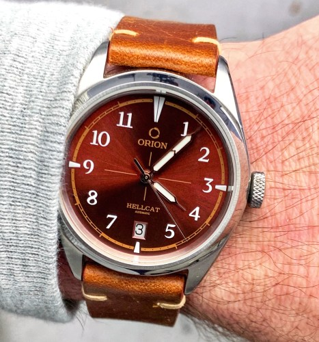 Orion Hellcat Automatic Watch in Red Wrist Shot