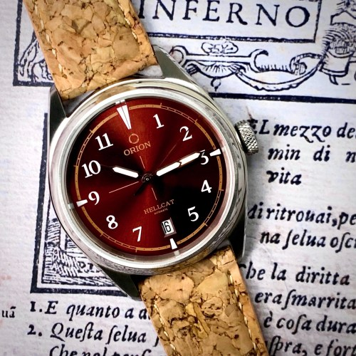 Orion Hellcat Automatic Watch in Red with Cork Straps