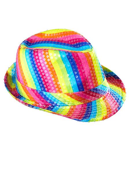 Rainbow Sequin Fedora Hat