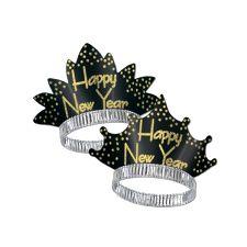 Happy New Year Sparkling Glittered Tiara - Black & Gold (25)