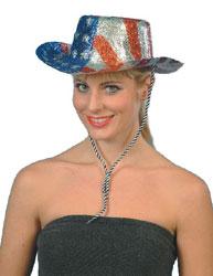 Glitter Cowboy Hat USA Star's n Stripe's