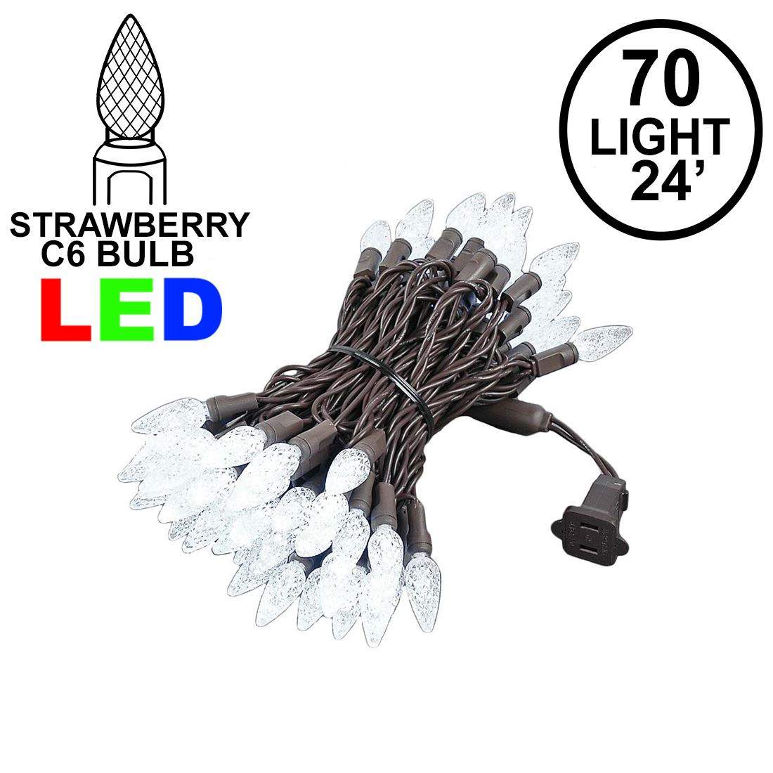 Commercial C6 Led 70 Light Pure White Strawberry Mini Lights