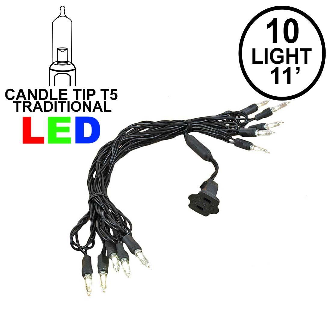 10 Light Traditional Candle Tip Led Christmas Lights Warm