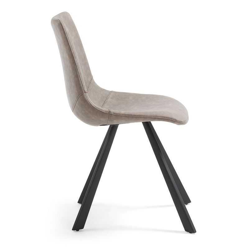 chaise design cuir pieds acier ou metal
