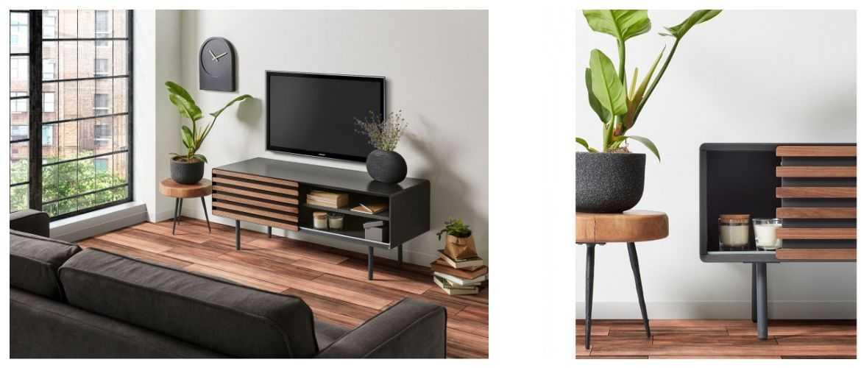 meuble tv gris et bois noyer walter