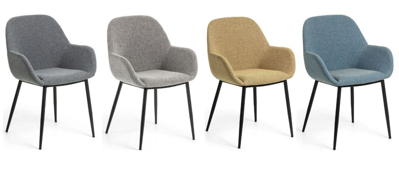 chaise avec accoudoir en tissu et pied