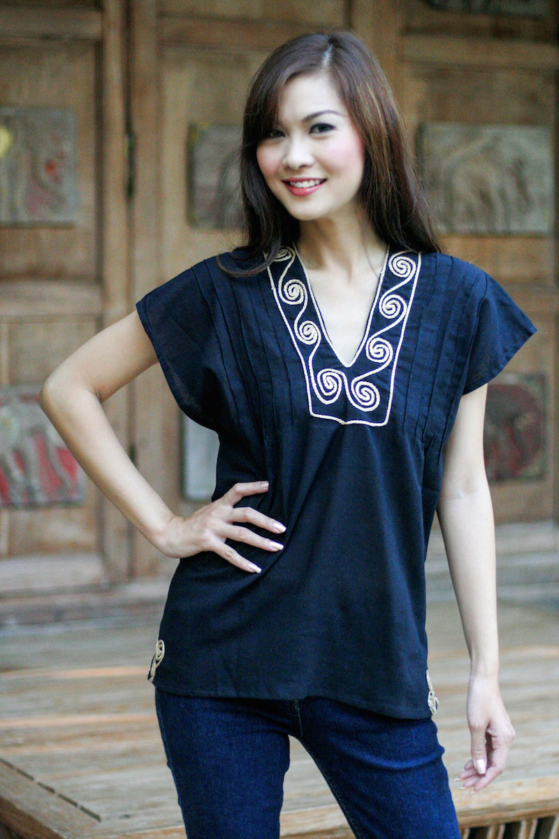 Ebony Melody Short-sleeved black tunic top Embroidered blouse shirt NOVICA Fair Trade Vee neck