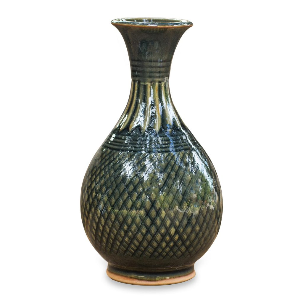 Hand Made Celadon Ceramic Vase from Thailand, 'Glamorous Celebration' NOVICA Fair Trade