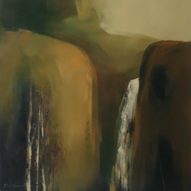 Expressionist Landscape Painting, 'Andean Torrent' Original Fine Art NOVICA Fair Trade