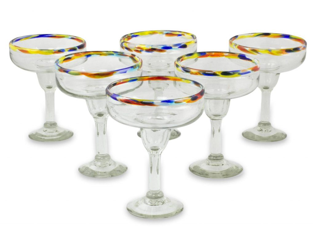 Set of 6 Artisan Crafted Blown Glass Margarita Glasses, 'Confetti Kiss'