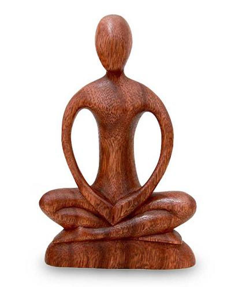 Handcrafted Wood Yoga Sculpture, 'Meditative Calm' Artisan Carved Fair Trade Original Art NOVICA