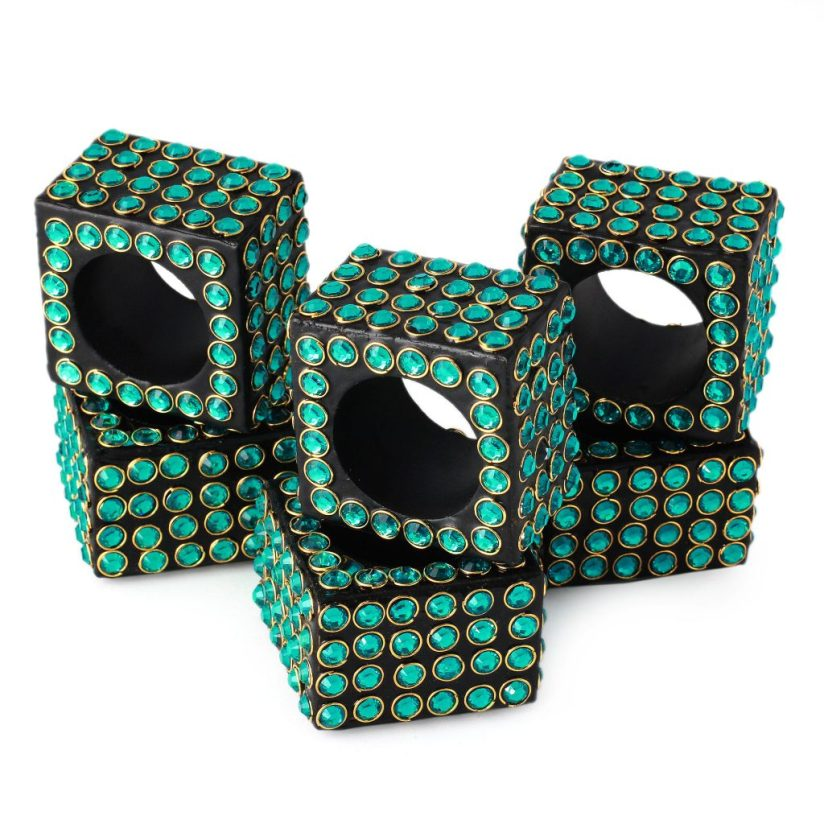 Handcrafted Bejeweled Napkin Rings (set of 4), 'Green Droplets'