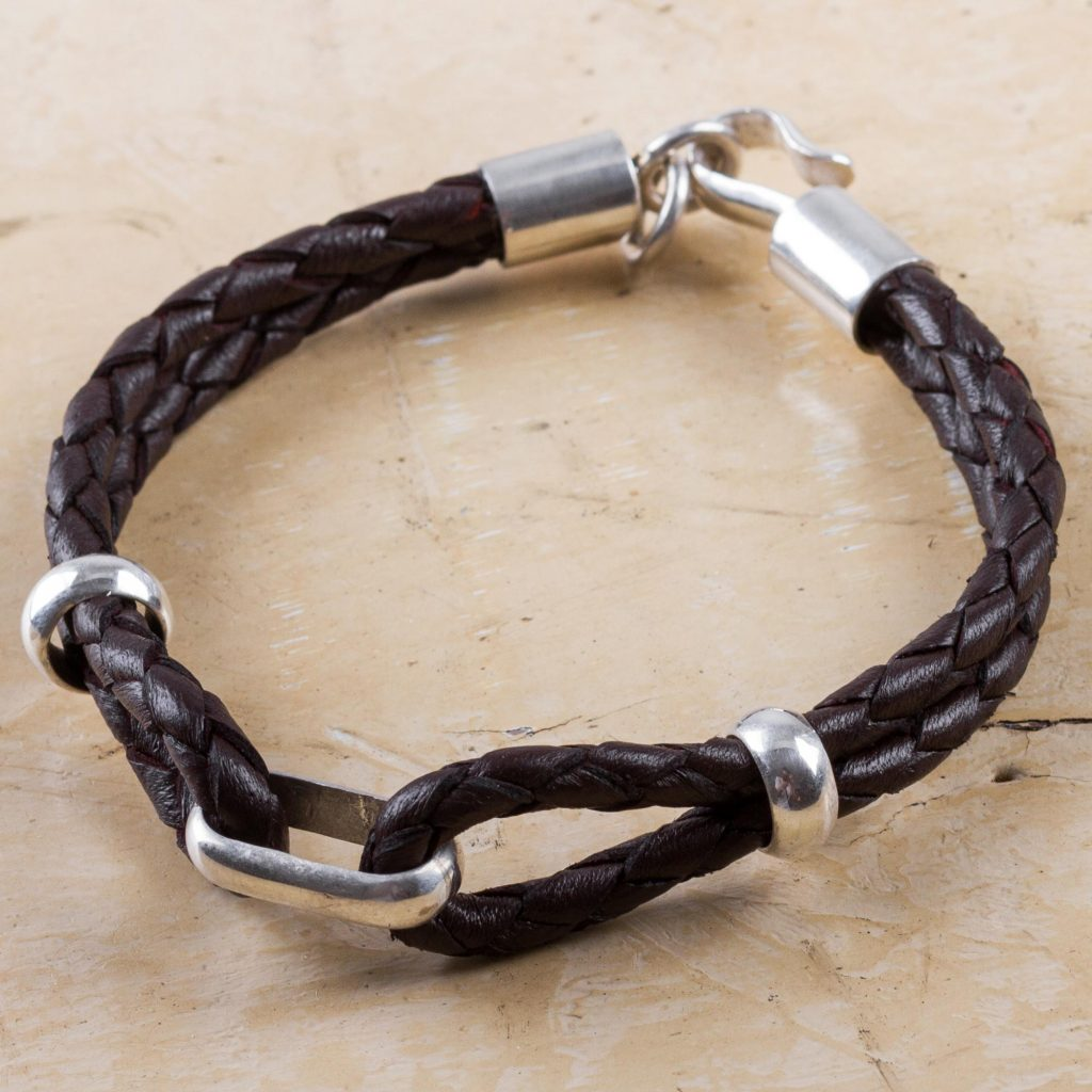 Handmade Men's Sterling Silver and Leather Bracelet, 'Naturally' Brown