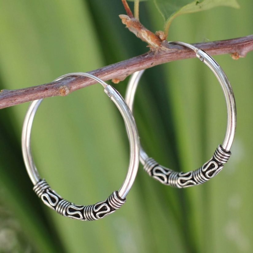 Fair Trade Sterling Silver Hoop Earrings, 'Traditional Thai' Update Jewelry Collection