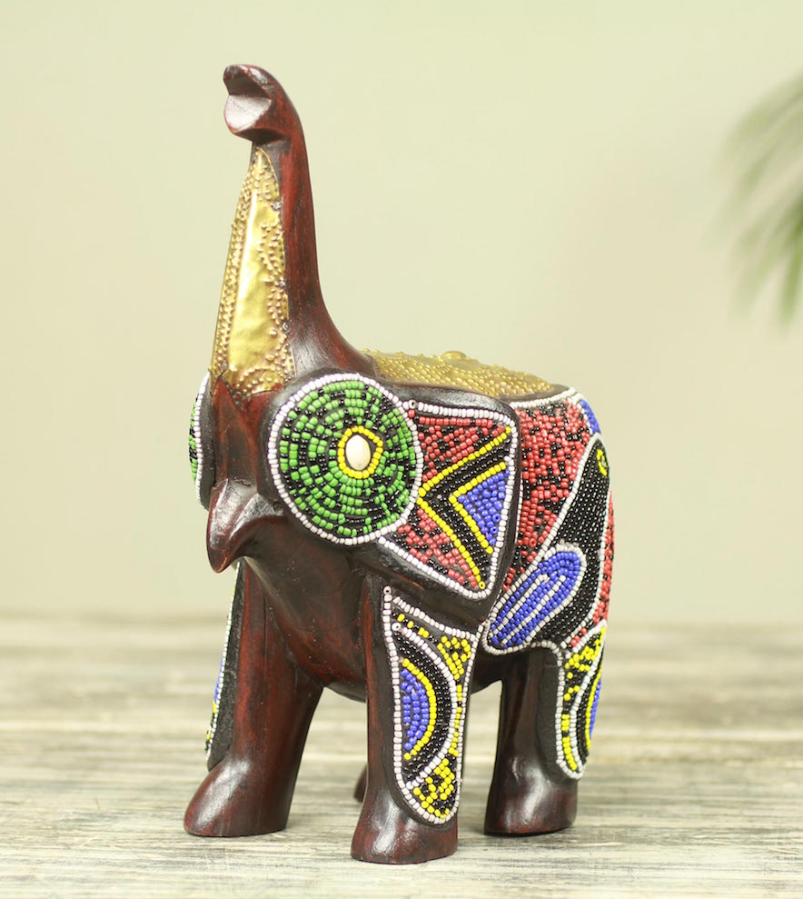 Brass Inlay Beaded Wood African Elephant Sculpture Beaded Brown Elephant Figurine Statuette Right Sculpture for your home