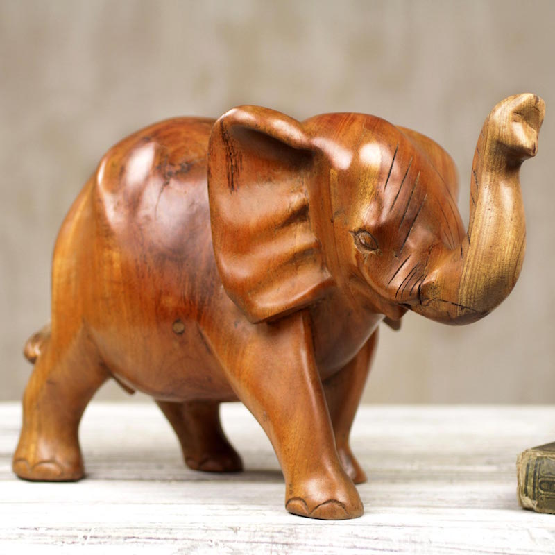 Handmade Wooden Elephant Sculpture from Ghana Cheerful Statuette Figurine Elephant Right Sculpture for your home