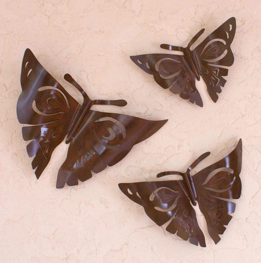 Handmade Modern Steel Wall Sculptures Mexico (Set of 3), 'Aztec Butterflies' Perfect Sculpture for Home