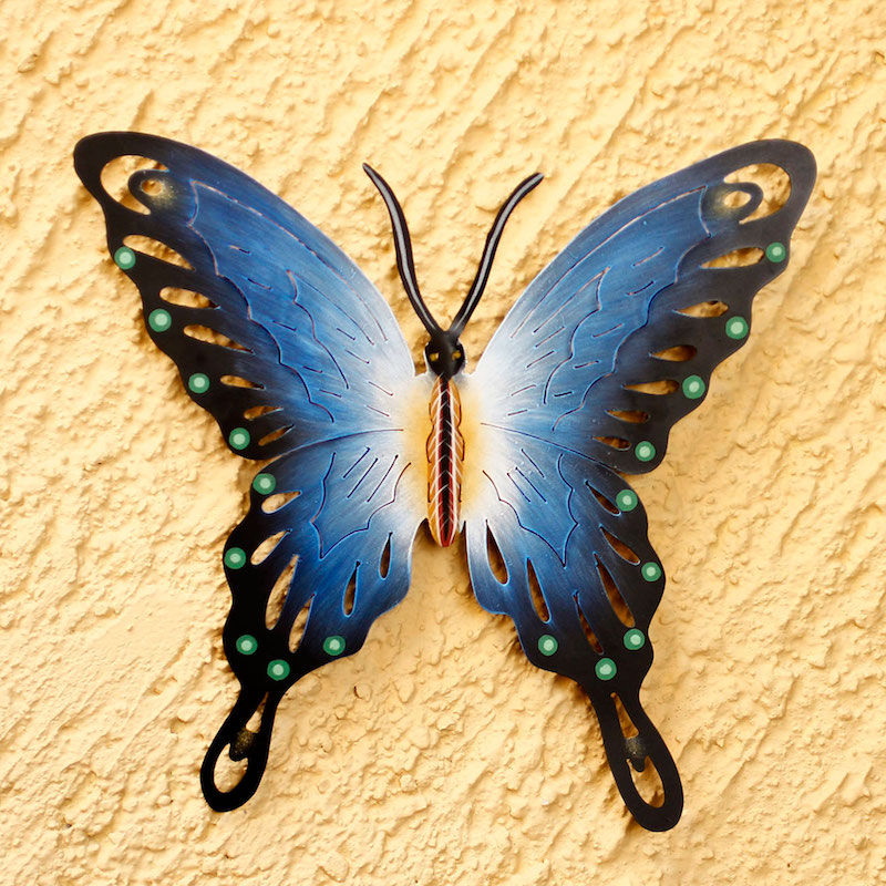 Unique Blue Butterfly Steel Wall Sculpture Mexico, 'Soul of Harmony' Perfect Sculpture for Home