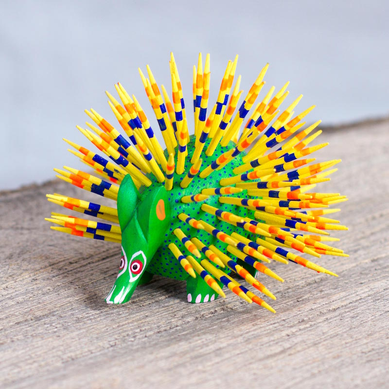 Yellow and Green Copal Wood Alebrije Porcupine Sculpture Cute Porcupine Statuette Figurine Right Sculpture for your home