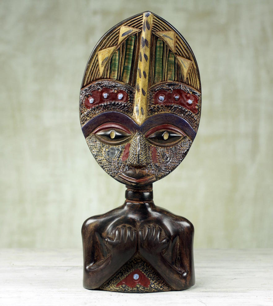 ed West African Sese Wood Tabletop Sculpture Loving Woman Right Sculpture for your home