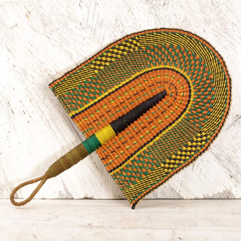 Handwoven Multicolored Raffia Fan from Ghana, 'African Comfort' right sculpture for your home